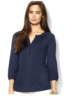 Lauren Ralph Lauren Petite Three-Quarter-Sleeved Pintucked Cotton-Modal Peasant Blouse
