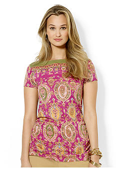 Lauren Ralph Lauren Petite Paisley Cotton Boatneck Top