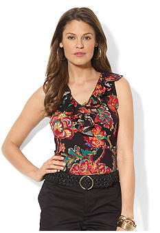 Lauren Ralph Lauren Petite Sleeveless Floral Tissue Cotton Ruffle V-Neck Top