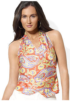 Lauren Ralph Lauren Petite Sleeveless Floral Wrap Top