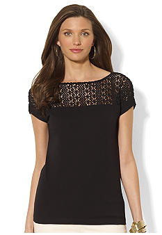 Lauren Ralph Lauren Petite Lace-Yoke Cotton Tee