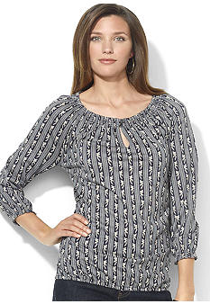 Lauren Ralph Lauren Petite Patterned Scoopneck Peasant Top