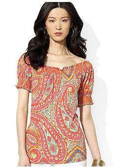 Lauren Ralph Lauren Petite Smocked Paisley Cotton Top