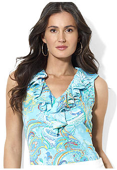 Lauren Ralph Lauren Petite Sleeveless Paisley Tissue Cotton Ruffle V-Neck Top