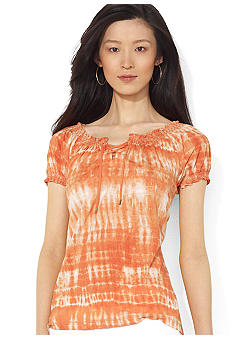 Lauren Ralph Lauren Petite Lace-Up Cotton Scoopneck