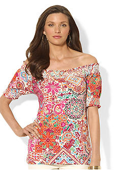 Lauren Ralph Lauren Petite Paisley Cotton Smocked Top