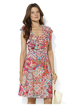 Lauren Ralph Lauren Petite Ruffled Paisley Cotton Dress