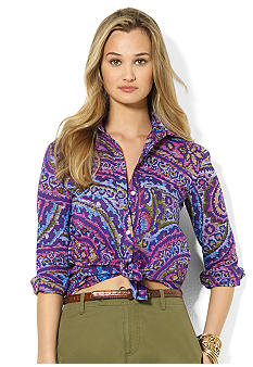 Lauren Ralph Lauren Petite Paisley Cotton Workshirt