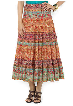 Lauren Ralph Lauren Petite Paisley Tiered Cotton Skirt