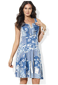 Lauren Ralph Lauren Petite Patchwork Lace-Up Dress