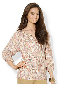 Lauren Ralph Lauren Petite Paisley Cotton Scoopneck Top