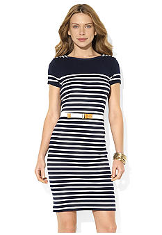 Lauren Ralph Lauren Petite Belted Lace-Up Boatneck Dress