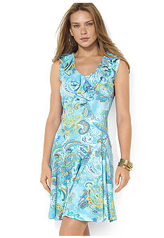 Lauren Ralph Lauren Petite Ruffled-Neck Pleated Paisley Dress