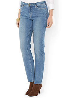 Lauren Ralph Lauren Petite Perry-Wash Stretch Straight Jean