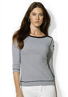 Lauren Ralph Lauren Petite Striped Bateau Pocket Top