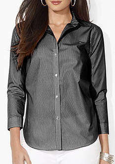 Lauren Ralph Lauren Petite Wrinkle-Free Polka-Dot Dress Shirt