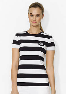 Lauren Ralph Lauren Petite Striped Crewneck Pocket T-Shirt