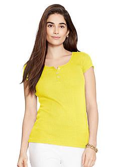 Lauren Ralph Lauren Petite Rib-Knit Cotton T-Shirt