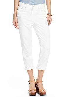 Lauren Ralph Lauren Petite Eyelet-Patch Girlfriend Jeans