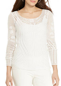 Lauren Ralph Lauren Petite Pointelle-Knit Cotton Sweater