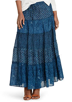 Lauren Ralph Lauren Petite Tiered Cotton Gauze Maxi Skirt
