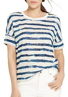 Lauren Ralph Lauren Petite Striped Linen Tee