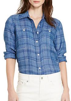 Lauren Ralph Lauren Petite Plaid Linen Shirt