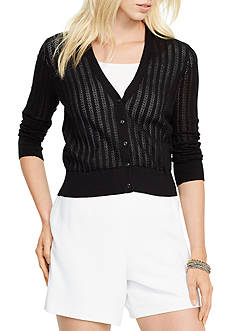 Lauren Ralph Lauren Petite Pointelle-Knit Cotton Cardigan