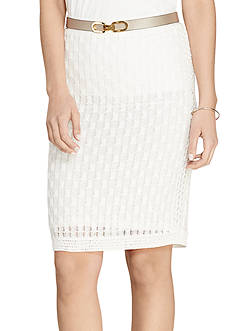 Lauren Ralph Lauren Petite Honeycomb Cotton Pencil Skirt