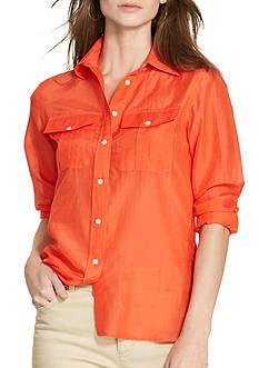 Lauren Ralph Lauren Petite Size Cotton-Silk Voile Shirt