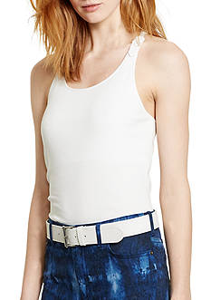 Lauren Ralph Lauren Petite Macrame Stretch Cotton Tank