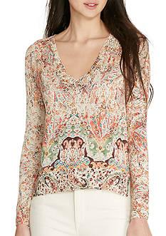 Lauren Ralph Lauren Petite Size Paisley-Print V-Neck Sweater