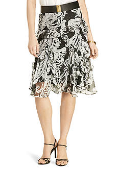Lauren Ralph Lauren Petite Scroll-Print Ruffled Skirt