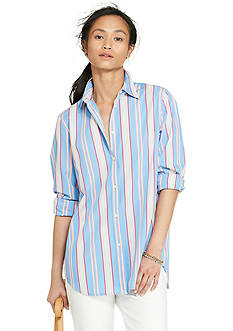 Lauren Ralph Lauren Petite Striped Cotton Shirt