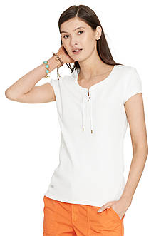 Lauren Ralph Lauren Petite Lace-Up Ribbed Cotton Tee