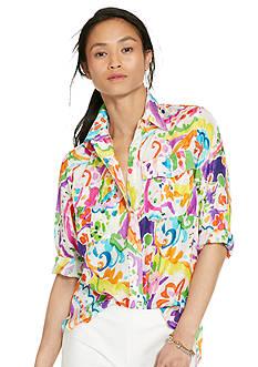 Lauren Ralph Lauren Petite Paisley Cotton-Silk Shirt