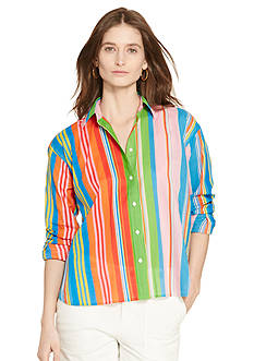 Lauren Ralph Lauren Petite Multi-Striped Cotton Shirt