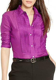 Lauren Ralph Lauren Petite Pintucked Cotton-Silk Shirt