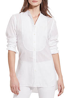 Lauren Ralph Lauren Petite Size Striped Bib-Front Shirt