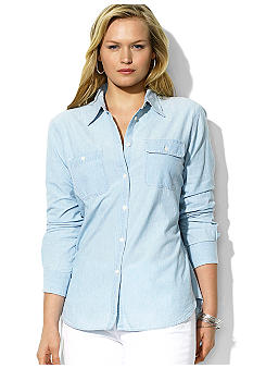 Lauren Ralph Lauren Plus Size Chambray Pocket Shirt