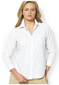 Lauren Ralph Lauren Plus Size Aaron Cotton Poplin Shirt