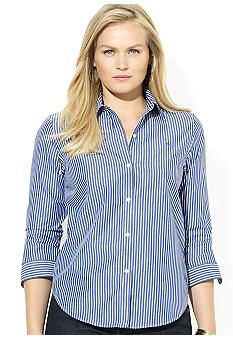 Lauren Ralph Lauren Plus Size Three-Quarter Sleeve Striped Dress Shirt