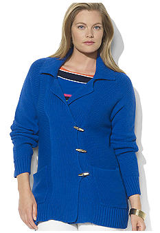 Lauren Ralph Lauren Plus Size Long-Sleeved Cotton-Blend Toggle Cardigan
