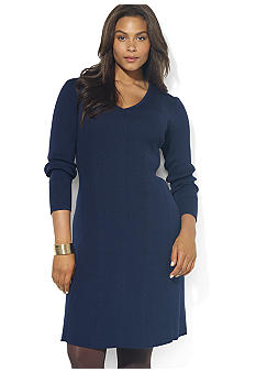 Lauren Ralph Lauren Plus Size Long-Sleeved V-Neck Airspun Cotton Dress