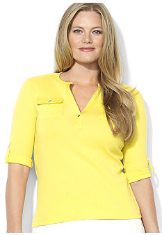 Lauren Ralph Lauren Plus Size Open-Placket Cotton Top