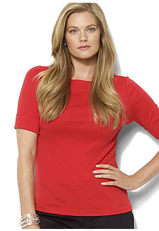 Lauren Ralph Lauren Plus Size Cotton Boatneck Top
