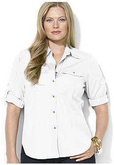 Lauren Ralph Lauren Plus Size Twill Rolled-Sleeve Workshirt