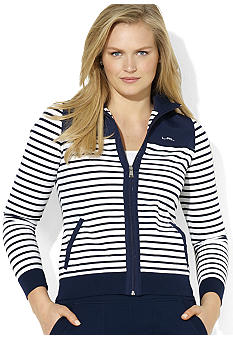 Lauren Ralph Lauren Plus Size Mockneck Full-Zip Striped Jacket