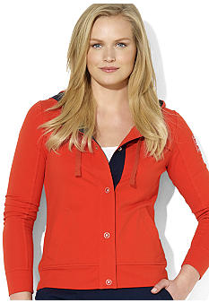 Lauren Ralph Lauren Plus Size Snapped-Front Hooded Jacket