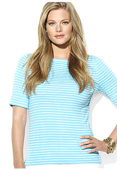 Lauren Ralph Lauren Plus Size Cotton Striped Boatneck Top